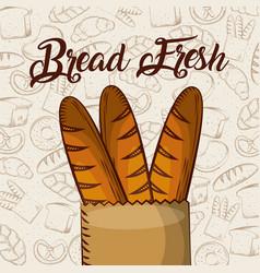 Bread fresh baguette in paper bag bakery vector