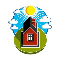 Bright of simple country house on sunrise ba vector
