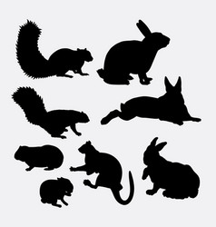 Bunny and squirrel mammal animal silhouette vector