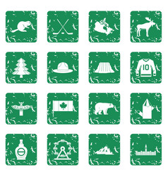 Canada travel icons set grunge vector