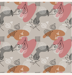 cartoon fig paear dots seamless pattern in line vector image