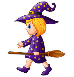 cartoon girl witch with a broom vector image