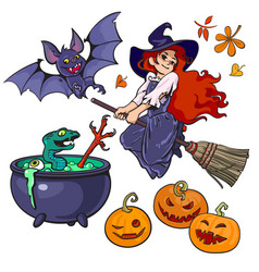Cartoon halloweens set characters and objects vector
