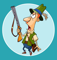 Cartoon scared the hunter with a gun in hand vector