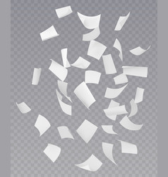 chaotic falling flying paper sheets vector image