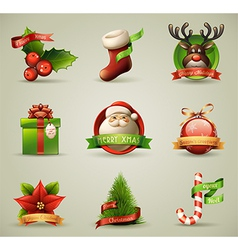 Christmas Icons Objects Collection vector image