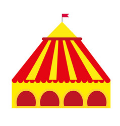 Circus pavilion yellow tent icon flat style vector