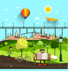 city park life with bridge and town on background vector image