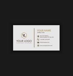 clean white gold business card vector image