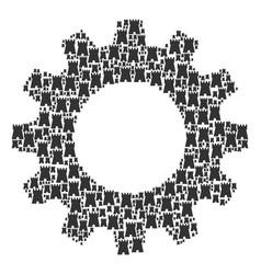 cogwheel collage of bulwark tower icons vector image