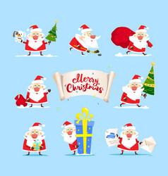collection of christmas santa claus christmas set vector image