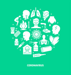 coronavirus round poster in flat style with text vector image