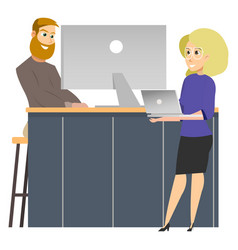 Coworking reception man invite to work woman vector