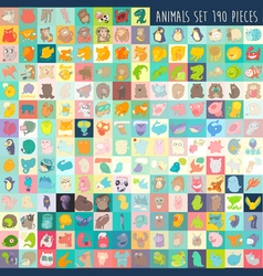 cute cartoon animals set 190 pieces vector image