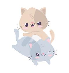 Cute funny little cats kawaii cartoon character vector