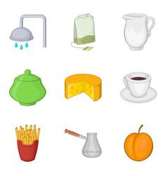 Device for tea icons set cartoon style vector