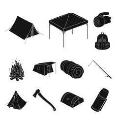 Different kinds of tents black icons in set vector