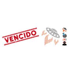 distress vencido line seal and mosaic ufo start vector image