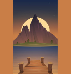 Dock on mountain lake at night time vector