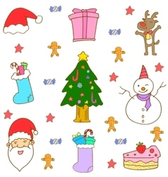 Doodle of christmas full color vector