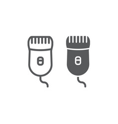 Epilator line and glyph icon beauty and shave vector