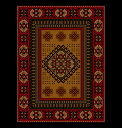 Ethnic carpet vintage ornament in red and yellow vector