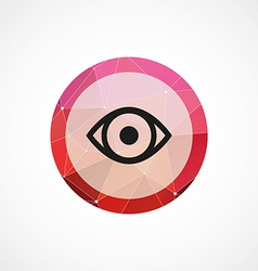 Eye circle pink triangle background icon vector