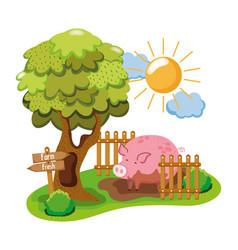 farm and animals cartoons vector image