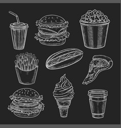 Fast food lunch meal chalk sketch on blackboard vector