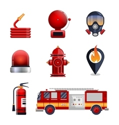 Firefighter elements set collection vector