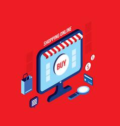 Flat 3d isometric design shopping online vector