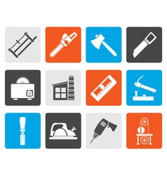 Flat Woodworking industry and Woodworking tools vector image