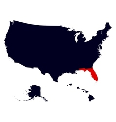 florida state in united states map vector image