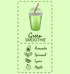 green lime smoothie concept banner realistic vector image