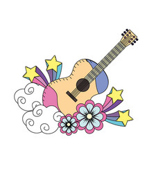 Guitar instrument of music with flowers and stars vector