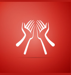 hands icon isolated on red background vector image