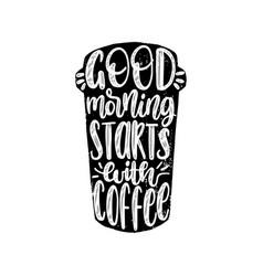 Handwritten phrase good morning starts vector