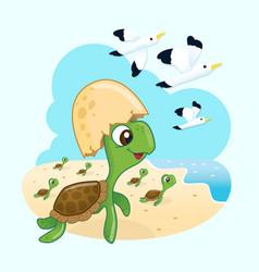 happiness sea turtles vector image