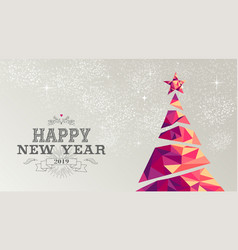 happy new year 2019 card christmas tree triangle vector image