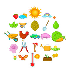 harvest icons set cartoon style vector image