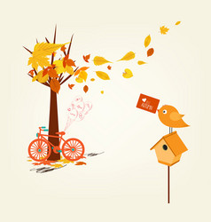 Hello autumn hand drawn tintage bicycle with vector