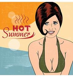 Hot pop art girl on a beach vector
