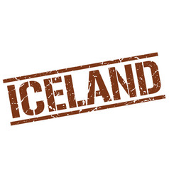 Iceland brown square stamp vector