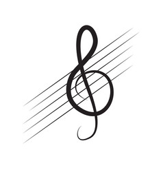 Isolated treble clef note on a pentagram vector