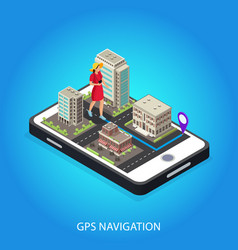 Isometric gps navigation conceptual template vector