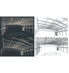 Large industrial hangar sketches vector