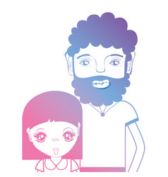 Line father and daughter together with hairstyle vector