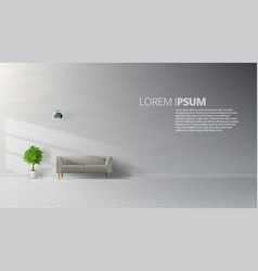 livingroom interior clean wall with grey sofa vector image