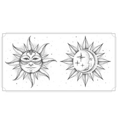 Magic witchcraft card with astrology sun and moon vector
