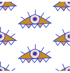 mediterranean geometric evil eyes seamless pattern vector image